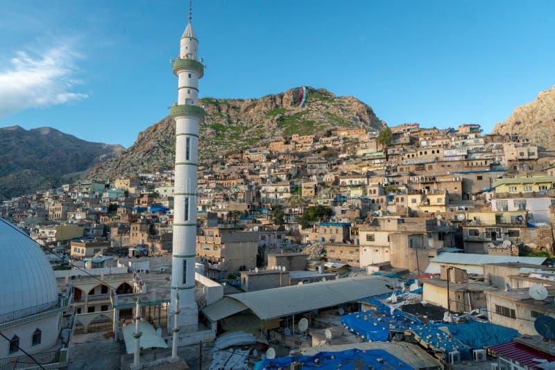 镇Akre的全景在伊拉克北部 图库摄影