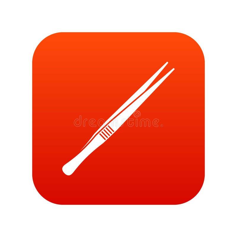 镊子象数字式红色 皇族释放例证