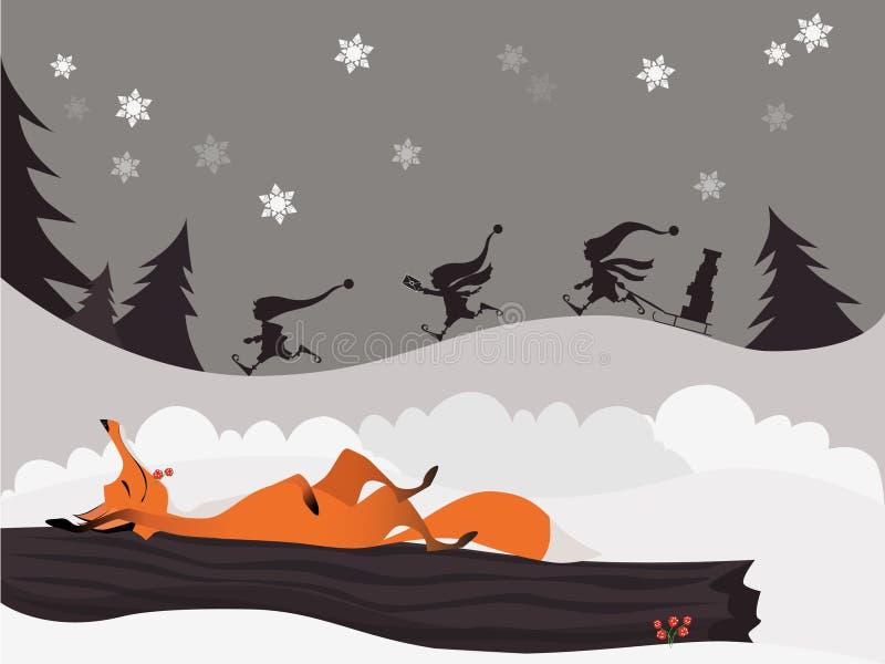 镍耐热铜在冬天圣诞节森林里和逗人喜爱的矮子 向量例证