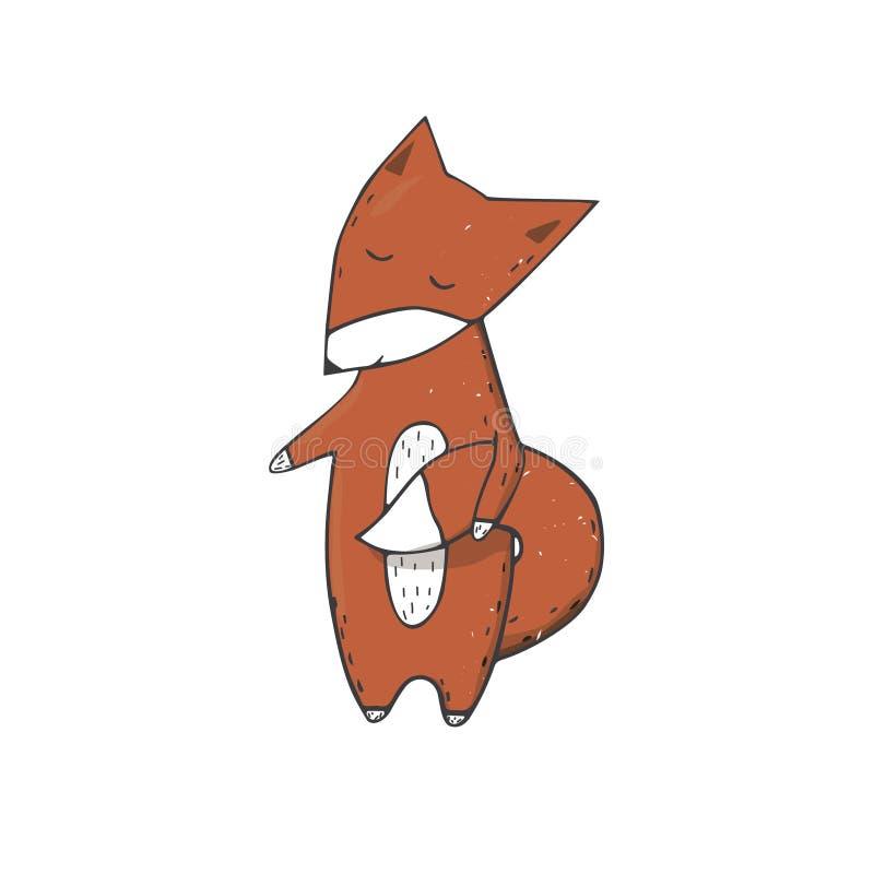镍耐热铜紧贴对充分跑逗人喜爱的野生生物几何文本猫狗卡片c的尾巴字符剪贴美术传染媒介森林动物面孔微笑 向量例证