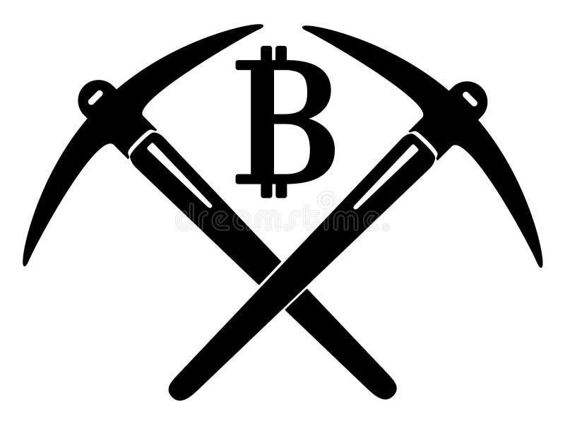 镐和bitcoin硬币 皇族释放例证