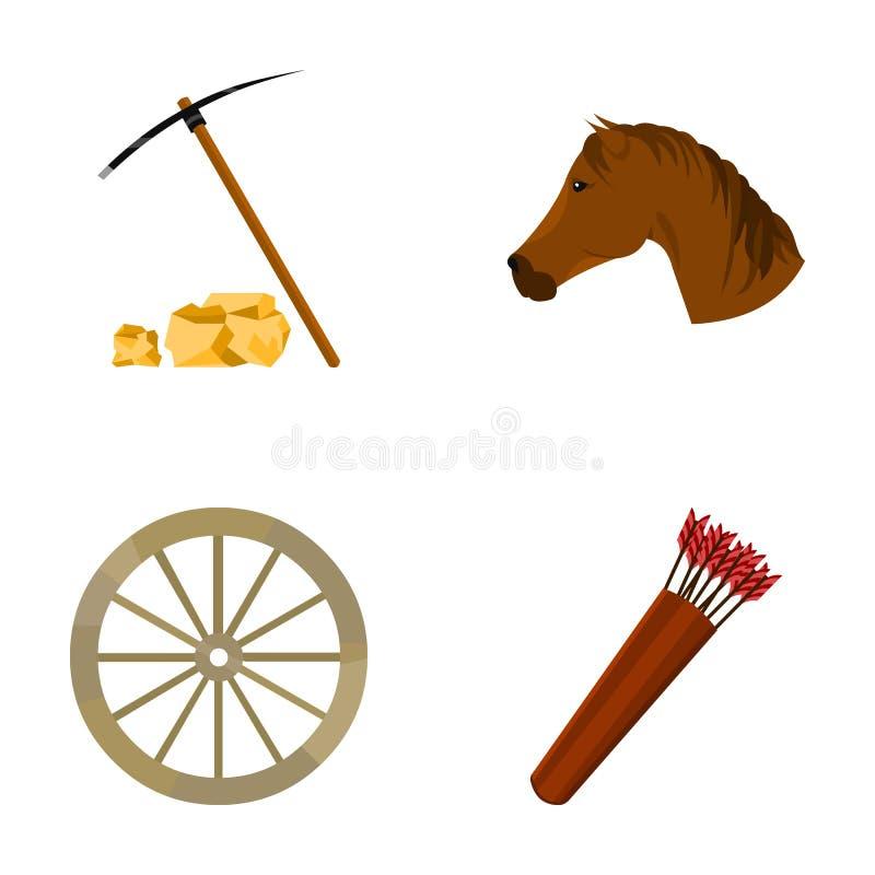 镐锄,马头,轮子推车,与箭头的颤抖 狂放的在动画片样式的西部集合汇集象导航标志 库存例证
