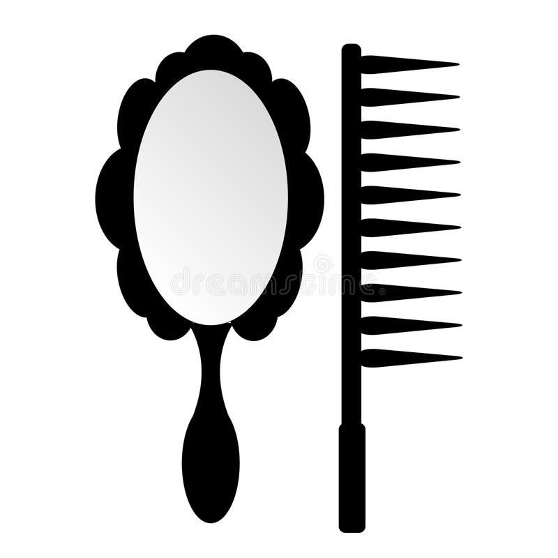镜子和梳子秀丽的 皇族释放例证