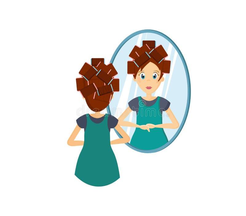 镜子女孩站立的前面,做发型,化妆 皇族释放例证