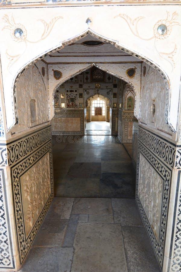 镜子宫殿 阿梅尔宫殿(或阿梅尔堡垒) 斋浦尔 拉贾斯坦 印度 免版税库存照片