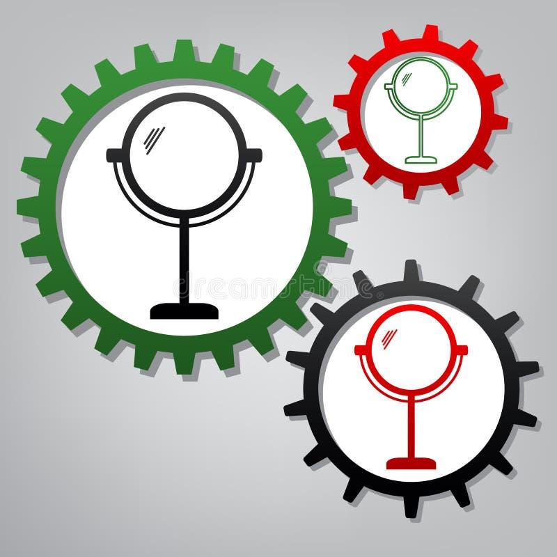 镜子标志例证 向量 有ico的三个被连接的齿轮 向量例证
