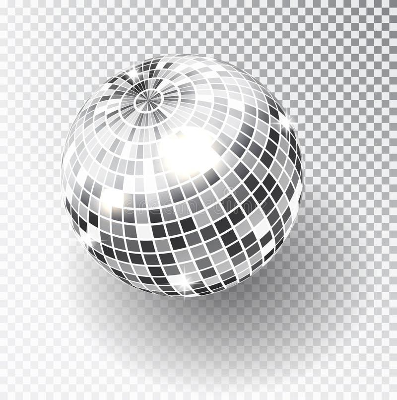 镜子闪烁迪斯科球传染媒介例证 夜总会党光元素 迪斯科舞蹈分类的明亮的镜子银球设计 向量例证