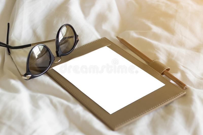 镜片和笔 库存图片