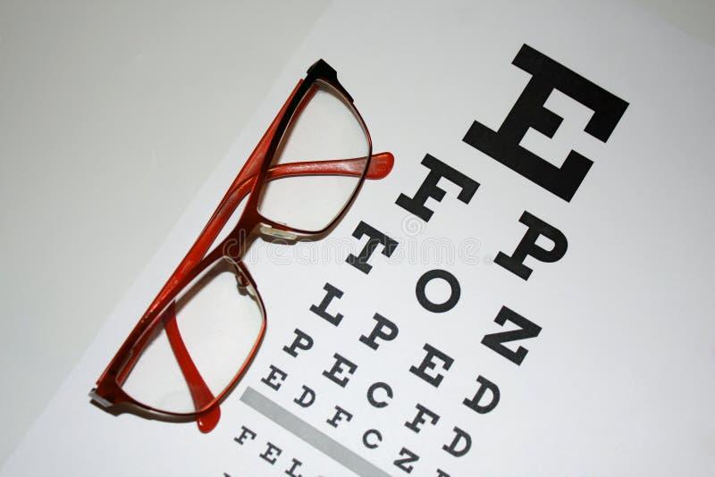 读-镜片和视力检查表特写镜头在一轻的backgroun 免版税库存照片