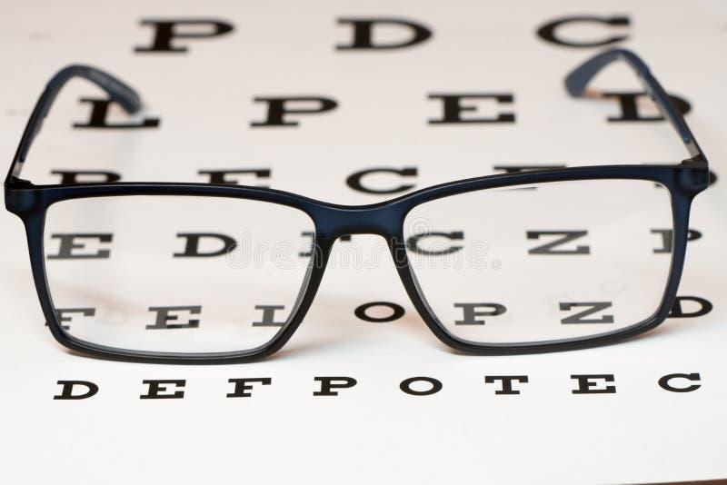 读黑镜片和视力检查表 免版税库存照片
