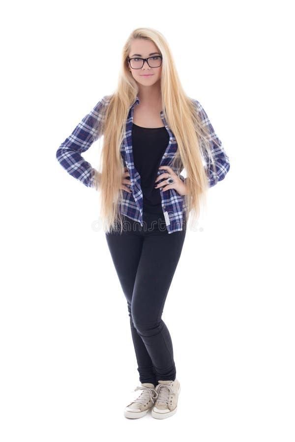 镜片的可爱的十几岁的女孩有美丽的长的头发的我 免版税库存照片