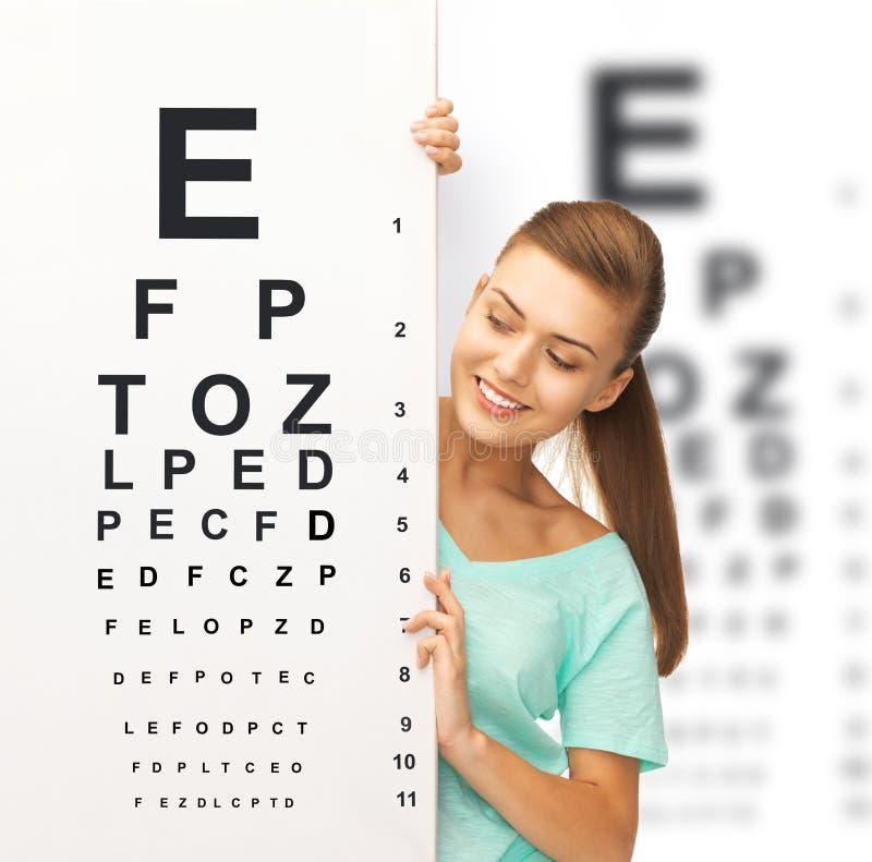 镜片的妇女有视力检查表的 免版税库存照片