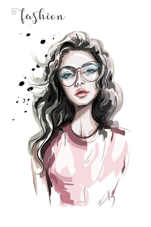 镜片的美丽的少妇 方式妇女 时髦长期女孩的头发 皇族释放例证