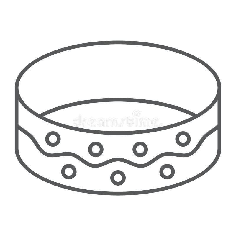 镯子稀薄的线象,首饰和辅助部件,手镯标志,向量图形,在白色背景的一个线性样式 库存例证
