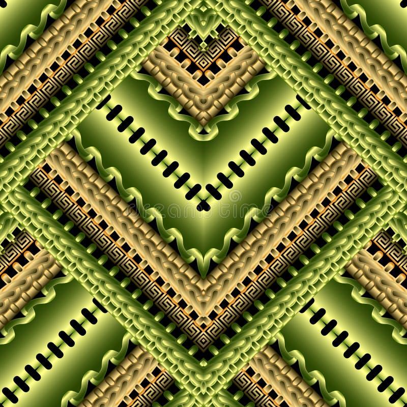 镶边之字形3d希腊传染媒介无缝的样式 鲜绿色的几何时髦背景 装饰部族种族样式重复 向量例证
