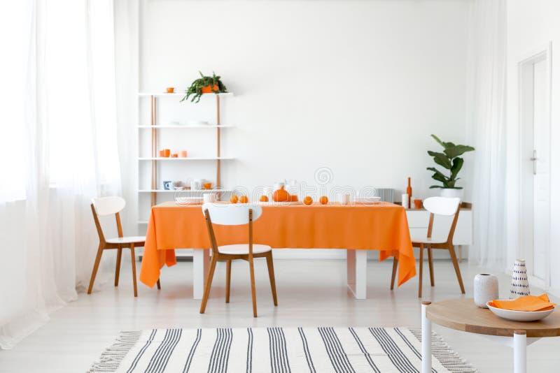 镶边地毯和植物白色餐厅内部的 免版税库存图片