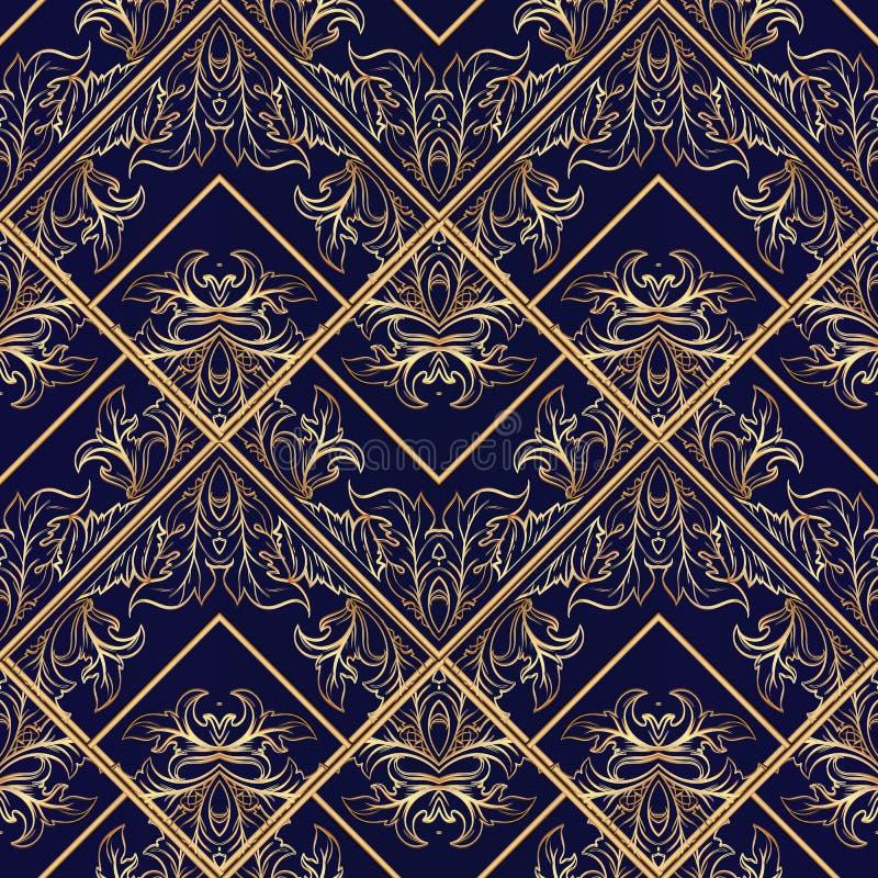 镶边巴洛克式的无缝的样式 深蓝花卉传染媒介backgr 向量例证