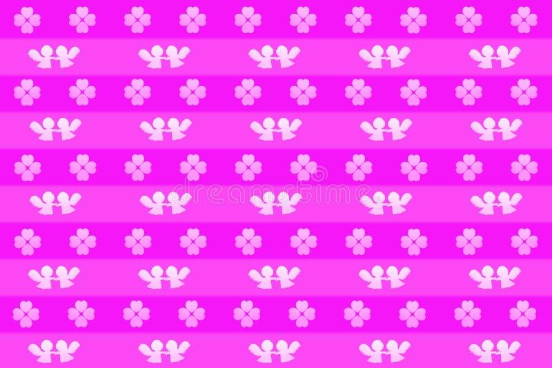 镶边情人节背景或包装纸,拿着手和心形的三叶草的天使的样式 库存例证