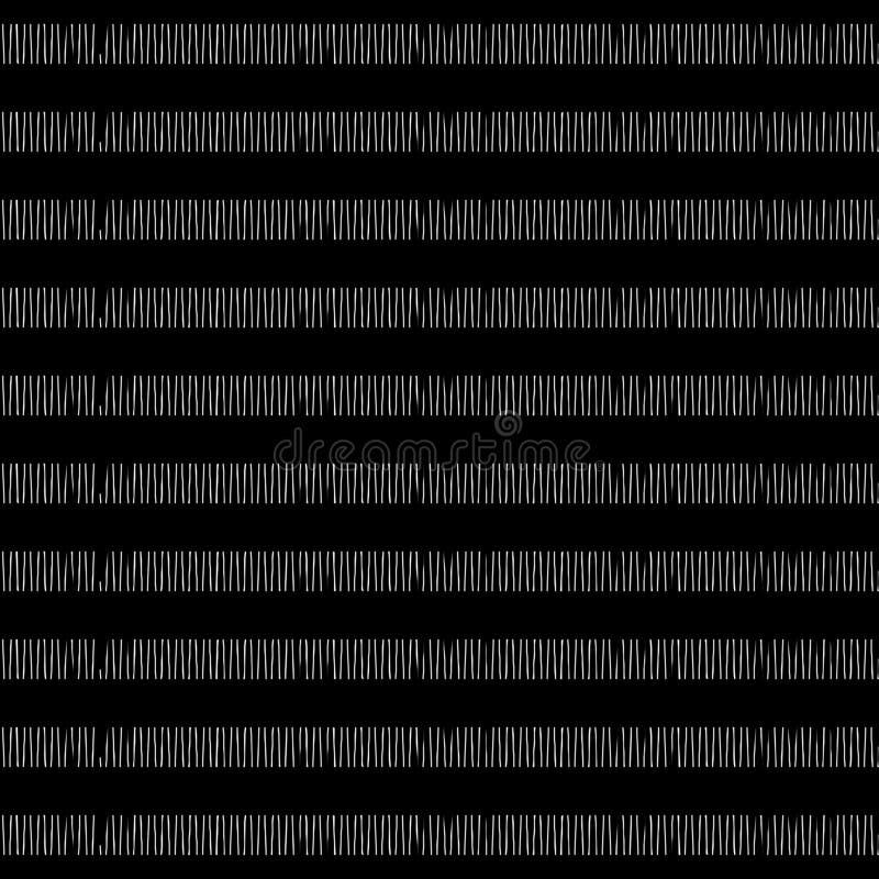 镶边手拉的在黑白的检查无缝的样式 向量例证