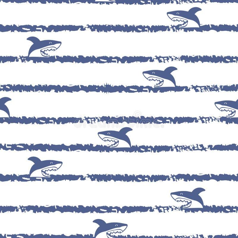 镶边无缝的动画片鲨鱼样式 库存例证