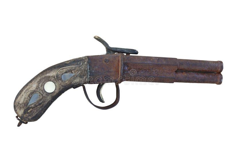 镶边的古色古香的手枪 库存照片