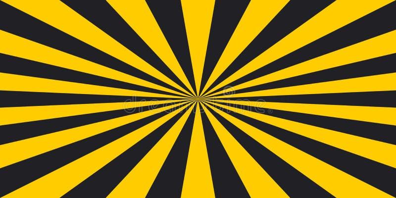 镶边警告光芒的安全危险流行艺术样式背景,传染媒介标志黄色和黑光芒,焕发,危险标志条纹光芒 库存例证