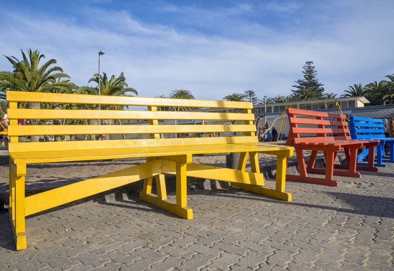 长凳上色了 免版税图库摄影