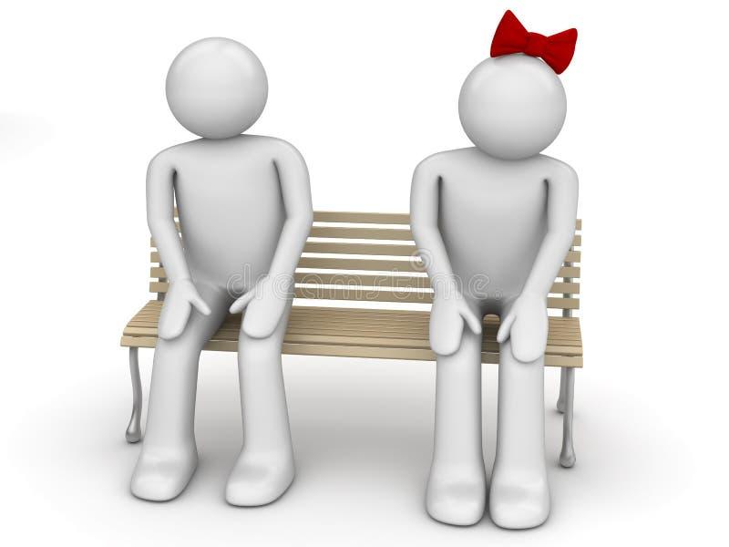 长凳人害羞的妇女 库存例证