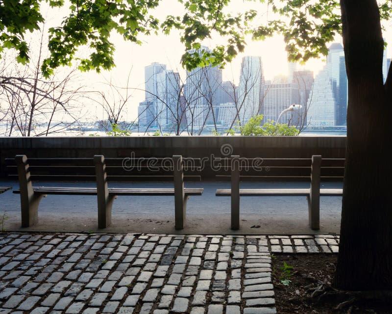 长凳和曼哈顿地平线 免版税库存照片