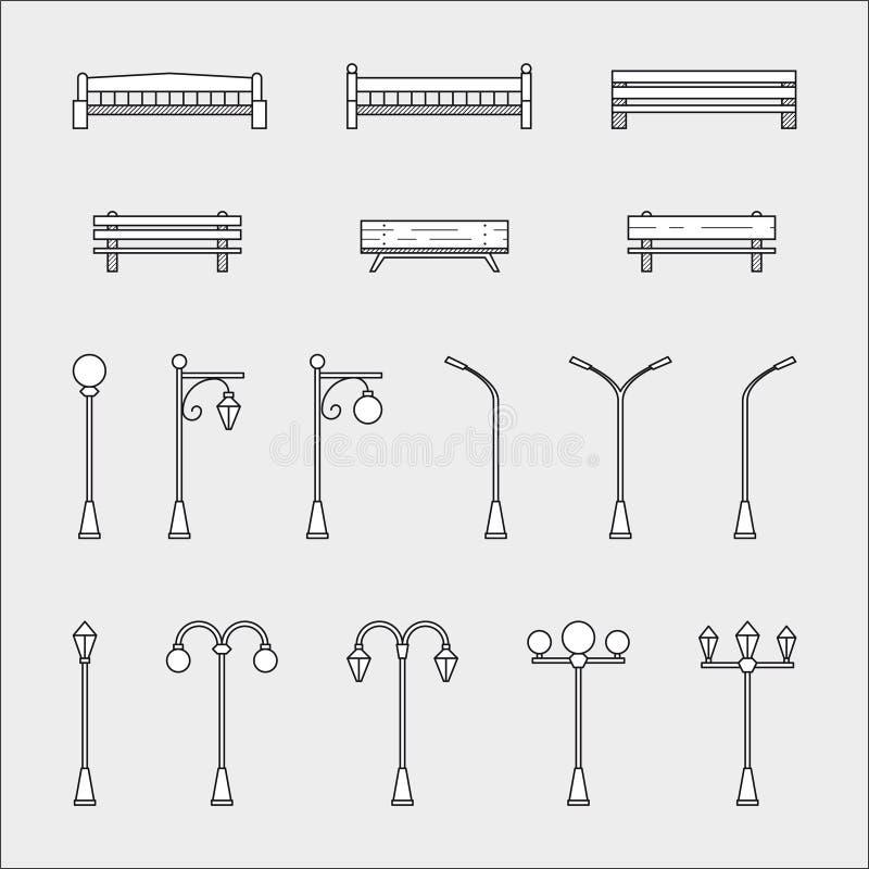 长凳和街灯象 库存例证