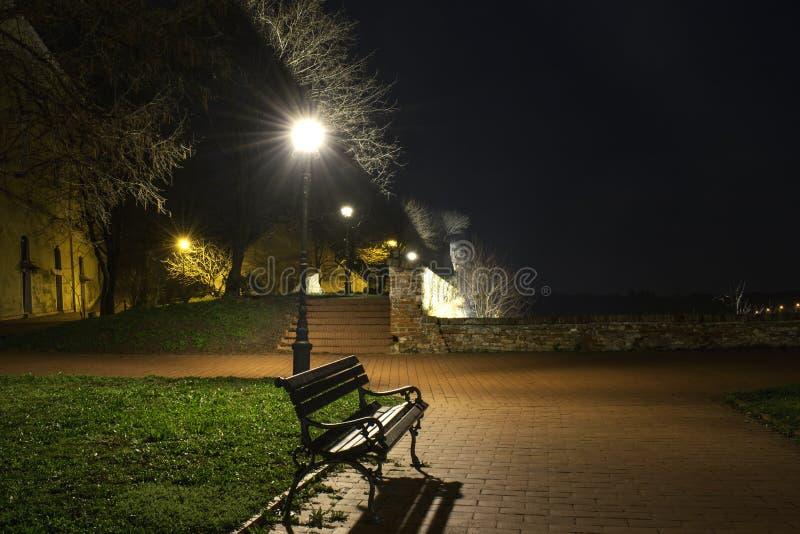 长凳在光下的一个公园 库存照片