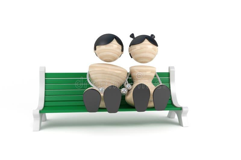 长凳夫妇坐的年轻人 库存例证