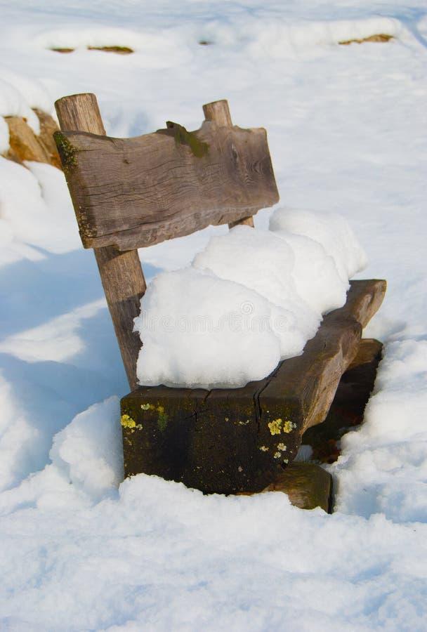 长凳报道了公园场面雪降雪的冬天 库存照片