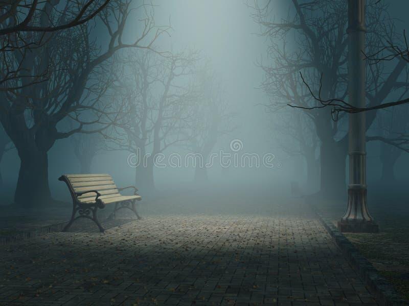 长凳有薄雾的公园 皇族释放例证
