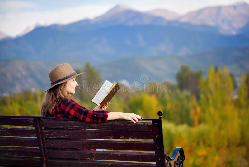 长凳的妇女与书 库存图片