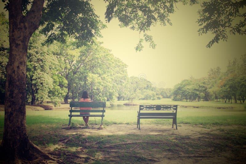 长凳的年轻孤独的妇女在公园,葡萄酒样式的 库存照片