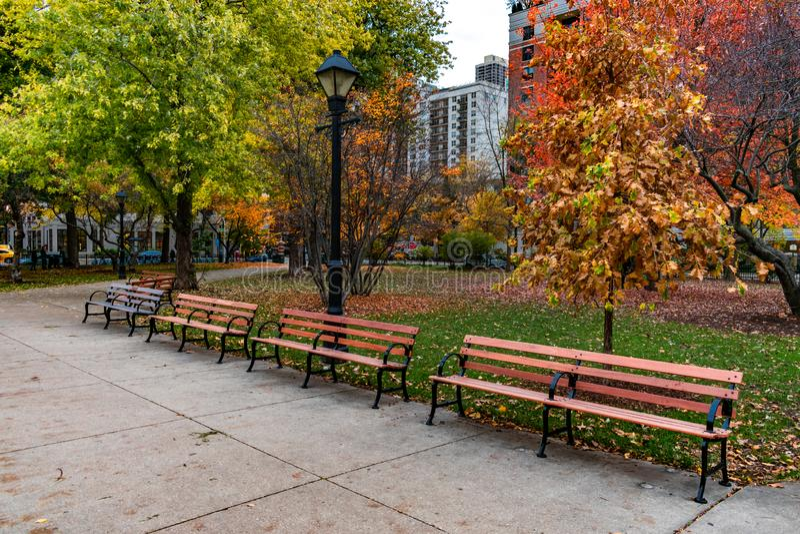 长凳行在华盛顿广场公园的在秋天期间的芝加哥 免版税库存图片