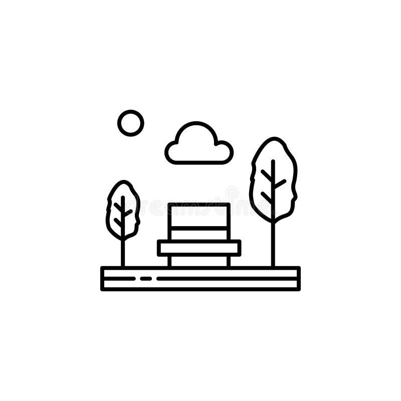长凳,公园,位子,树概述象 风景例证的元素 标志和标志概述象可以为网使用, 库存例证