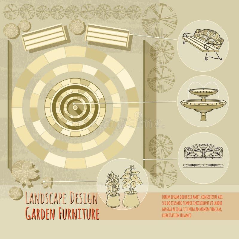 长凳,喷泉,栏杆 在米黄背景的庭院辅助部件 向量例证