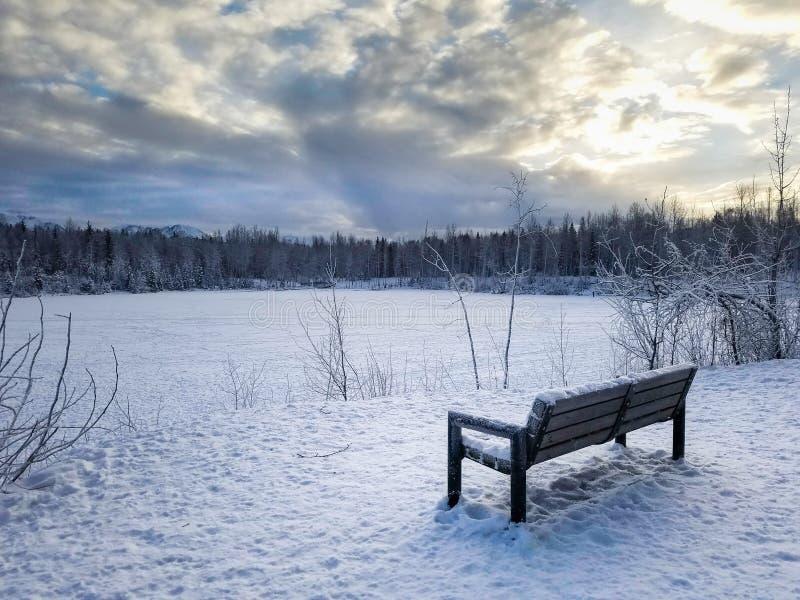 长凳University湖安克雷奇阿拉斯加冬天 库存图片