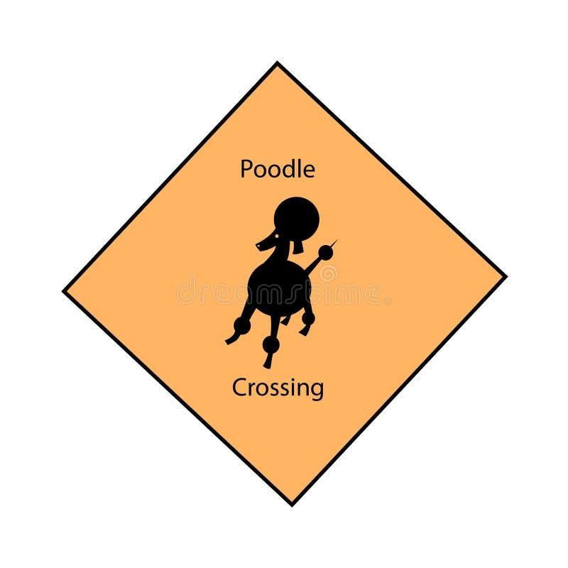 长卷毛狗横穿标志 库存例证