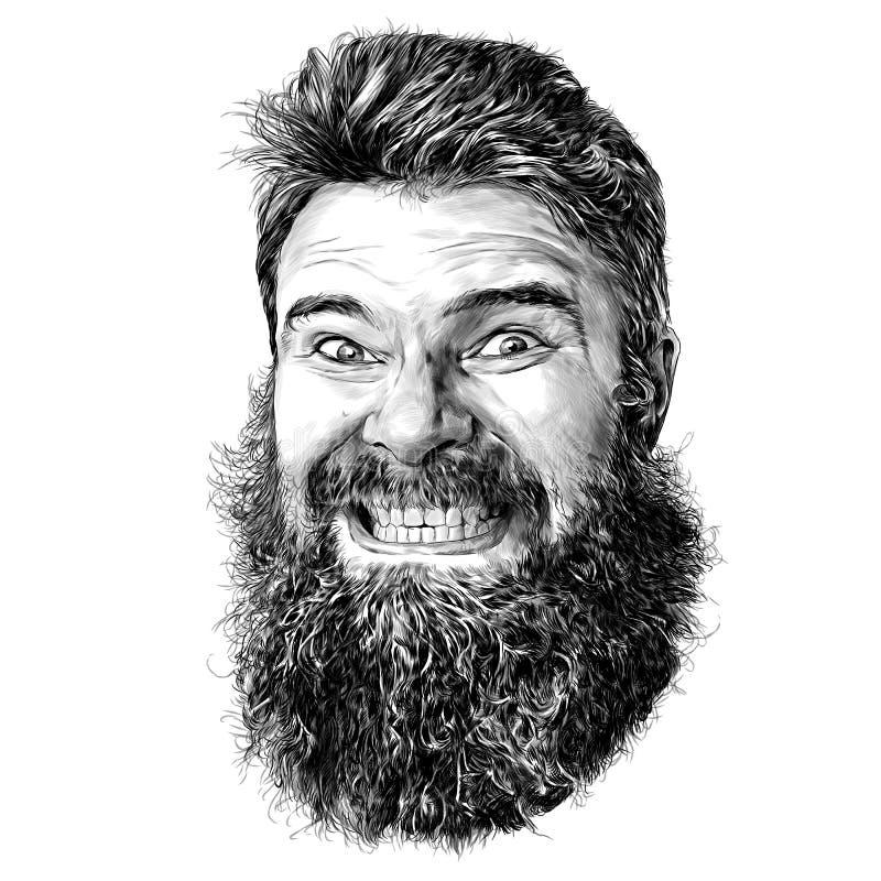 长发男脸和带牙齿的紧眉胡须 向量例证