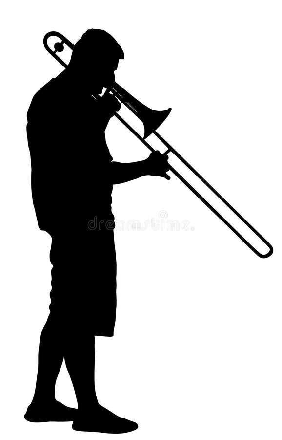 长号手传染媒介剪影 音乐人戏剧管乐器 音乐艺术家爵士乐人 向量例证