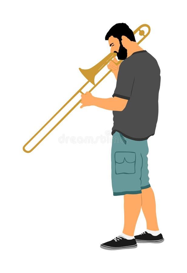 长号手例证 音乐人戏剧管乐器 音乐艺术家爵士乐人 号兵街道执行者 库存例证