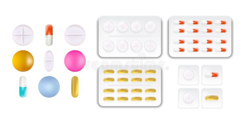 长圆形、回合和胶囊的汇集塑造了片剂 医学和药物 在白色隔绝的现实医疗药片 向量例证