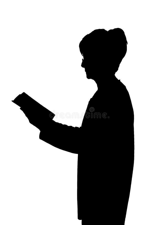年长夫人剪影常设阅读书 皇族释放例证
