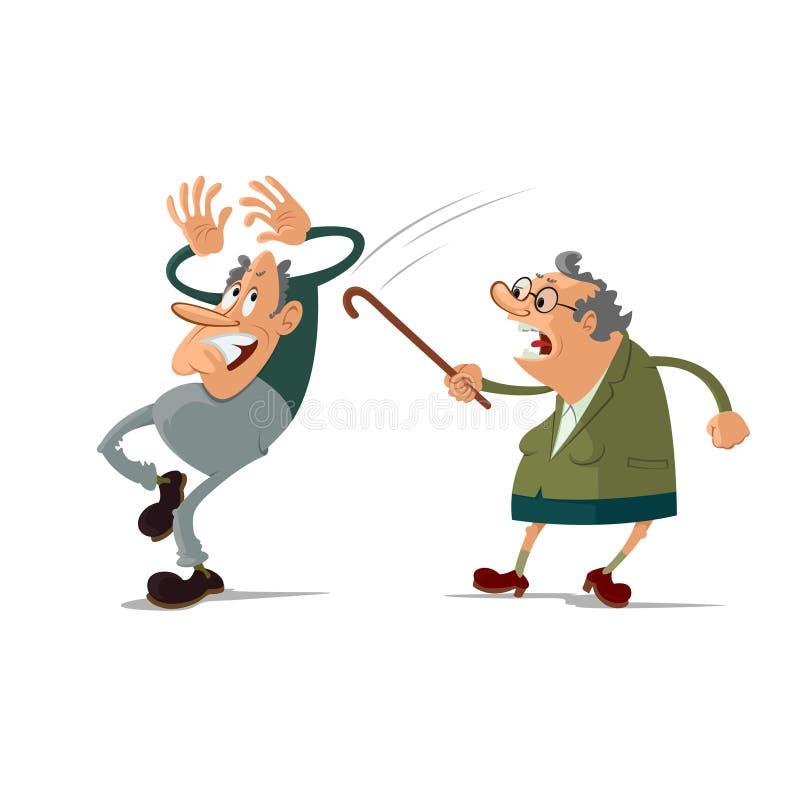 年长夫妇争吵 向量例证