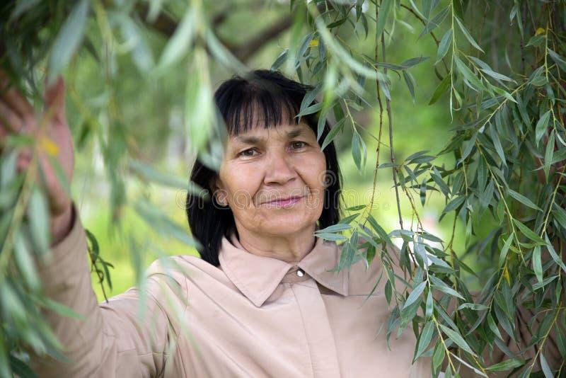 年长妇女在绿色柳树下 免版税库存图片