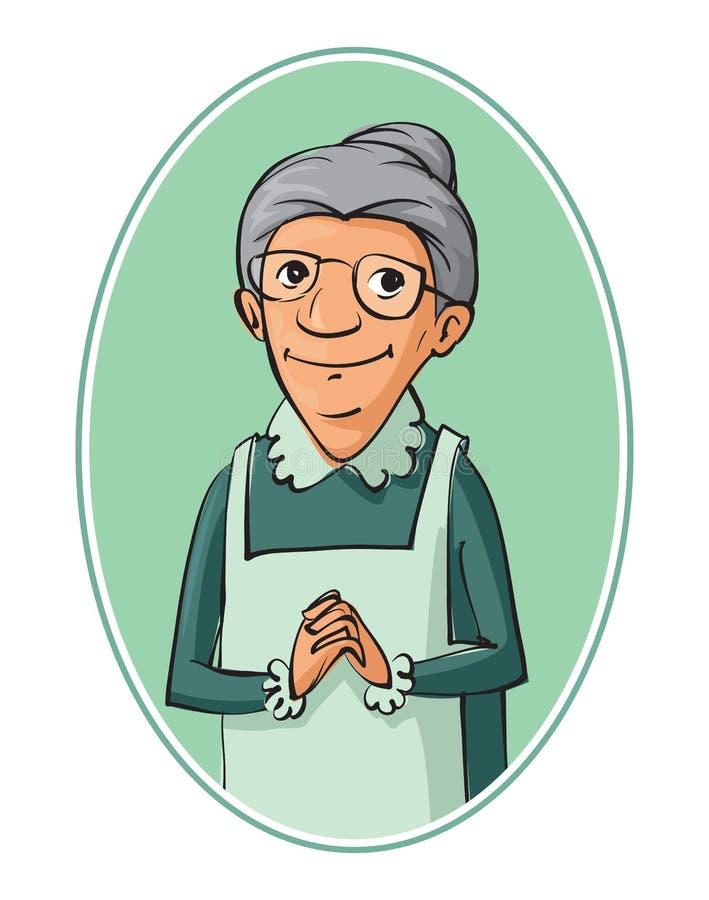 年长妇女字符 皇族释放例证