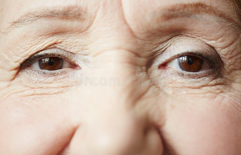 年长妇女的微笑的眼睛 免版税库存照片